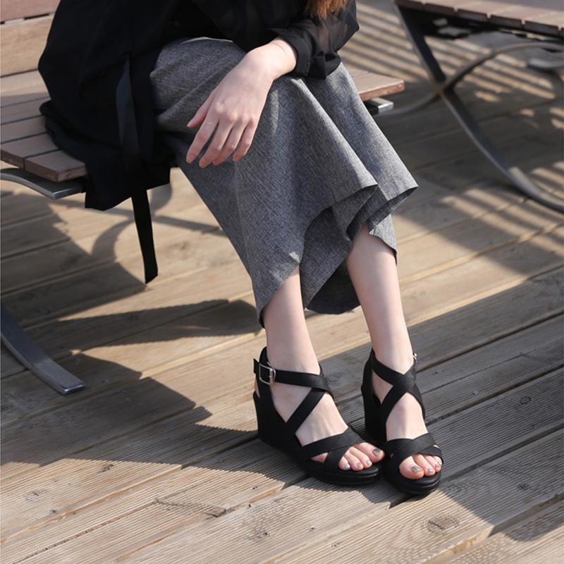韩版坡跟凉鞋女2019夏季新款交叉带超高跟厚底防水台松糕鞋罗马鞋