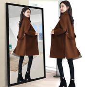 毛呢外套女中长款2018秋冬季新款韩版长袖大码修身女士妮子大衣女