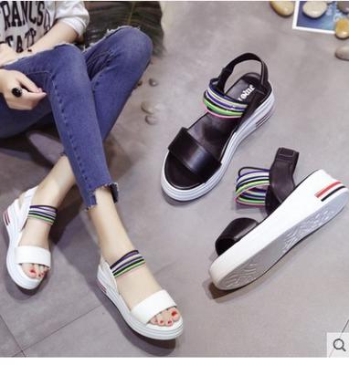 流苏夏天外穿休闲鞋百搭透复古简单平底鞋增高女学生黑色简约凉鞋
