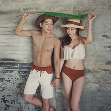 Korean couple swimsuits with small breasts and steel tobikini high waist hot spring swimsuits for women and men in beach trousers suits