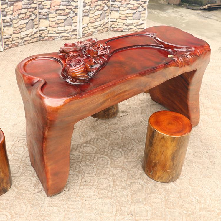 胡桃木实木雕刻荷花鱼茶艺桌简约新中式风格高档客厅阳台茶台1900
