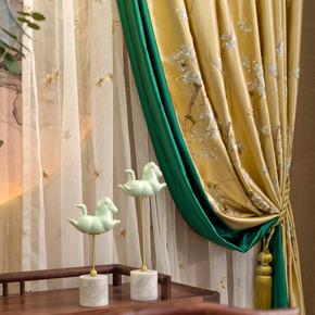 新中式黄色绣花鸟大气客厅G714红木家具定制样板间窗帘窗纱成品布