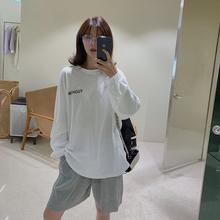 宽松长袖 两件套ins T恤短裤 少女运动休闲套装 于momo薄款 女2019新款图片