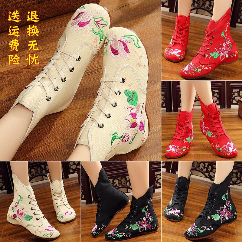 秋季新款绣花靴子民族风内增高女靴老北京布鞋牛筋底系带短靴单鞋