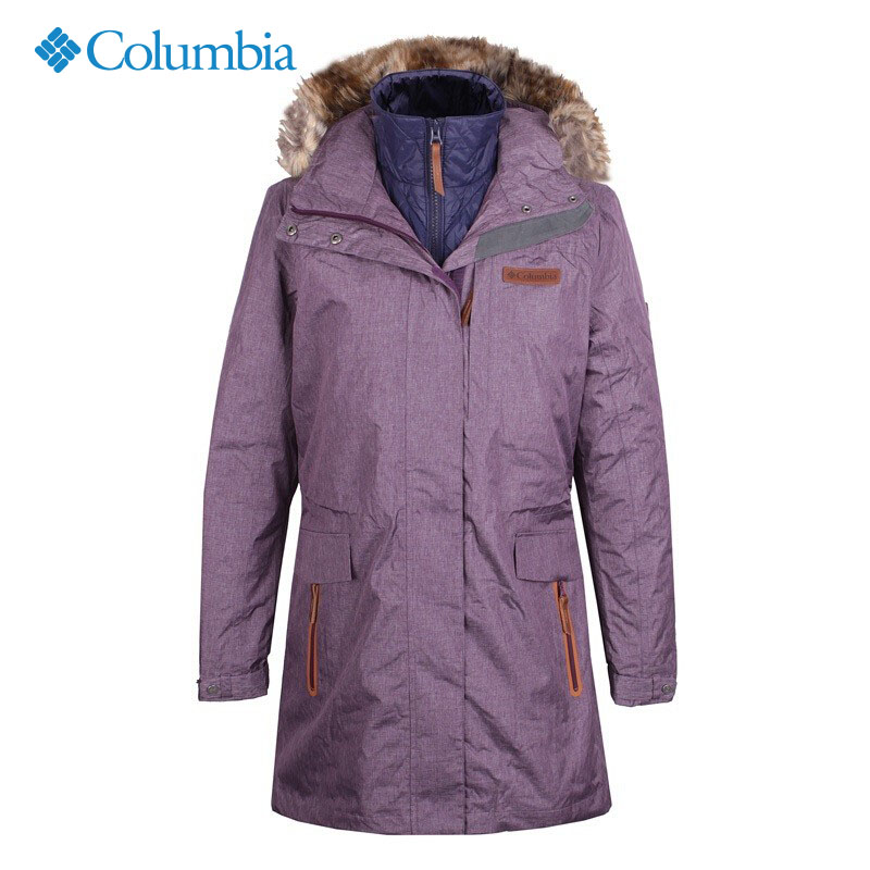 哥伦比亚冲锋衣女冬季户外保暖连帽长款三合一羽绒内胆外套PL7960