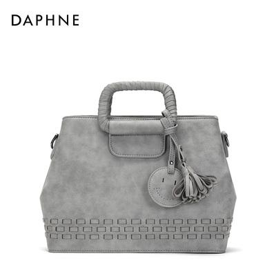 Daphne/达芙妮春秋潮流凯莉包 时尚编制装饰单肩斜挎女包
