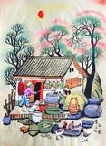张青义作品出国礼品家居装饰手绘装饰画小石磨户县农民画