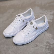 Korean Spring White Shoes Lazy Lazy Ladies with Loose Base Flat Bottom and Leather Students'Leisure Shoes