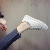 2018春季新款韩版百搭小白鞋女街拍低帮系带平底真皮学生浅口板鞋