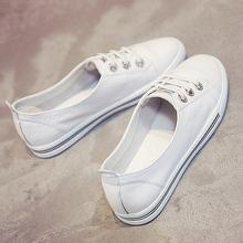 小白鞋女浅口松紧一脚蹬百搭韩版街拍真皮平底驾车鞋白鞋子基础款