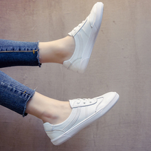 2018 spring and summer elastic Korean version of the wild foundation leather white shoes female shallow mouth a pedal student flat women's shoes