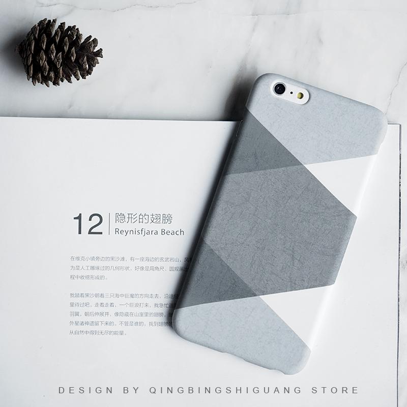 简约情侣苹果7灰色格纹5磨砂iphone 6S半包硬6/7plus手机壳全包软3元优惠券