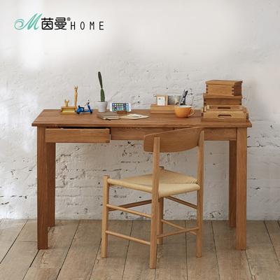 茵曼日式实木书桌简约现代原木三抽书桌家用写字桌白橡木办公桌口碑如何