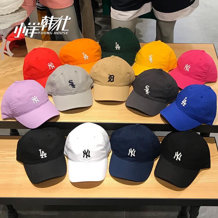 韩国专柜 MLB 棒球帽洋基队NY小标正品男女同款软顶多色LA鸭舌帽