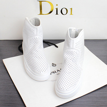 Spring New Type Air-permeable Hollow-out Full-leather White High-Upper Shoes Flat-soled Sports Board Shoes Small White Shoes Travel Women's Shoes
