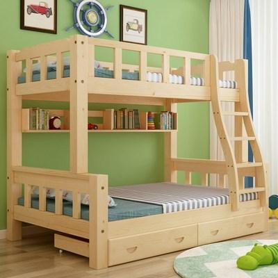 实木高低床儿童床1.5米上下床双层床子母床上下铺床1.2直梯松木床