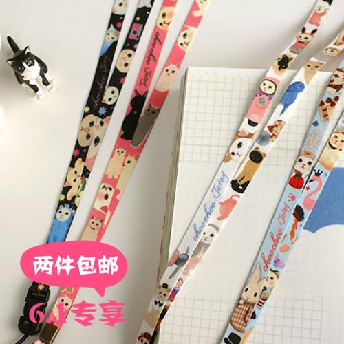 韩国Jetoy 可爱猫咪相机手机挂绳门禁卡挂脖胸牌胸卡挂带卡通绳子