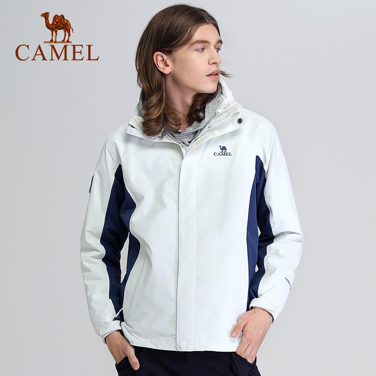 骆驼户外冲锋衣男女三合一可拆卸两件套防风防水情侣外套加绒加厚