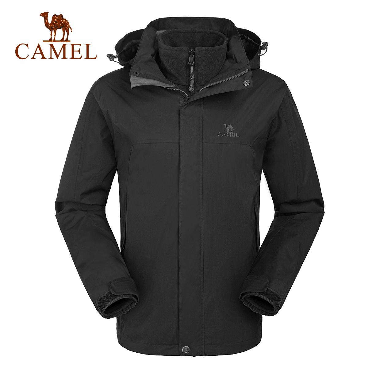 骆驼户外冲锋衣男潮牌 秋冬季三合一两件套加绒加厚防风衣外套