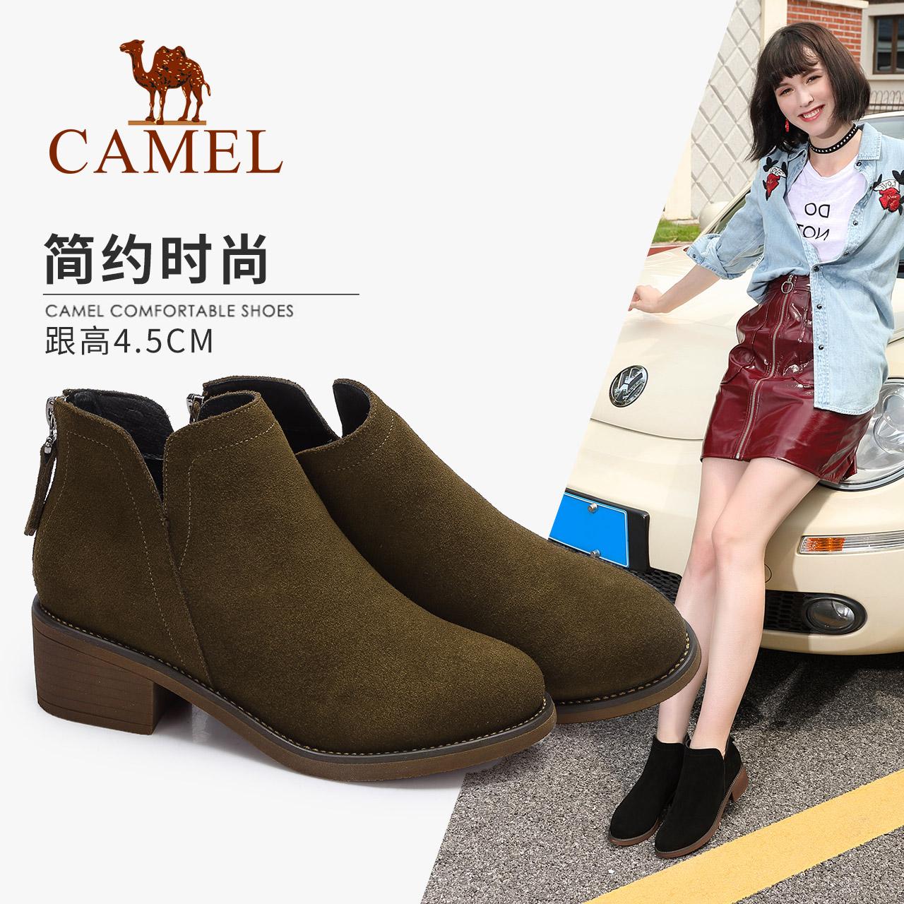 骆驼女鞋 2018秋冬新款 英伦风简约踝靴女 舒适中跟后拉链短靴子