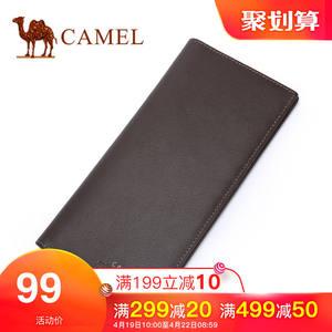 Camel/骆驼钱包 秋冬新款真皮长款钱夹男牛皮时尚竖款男士皮夹