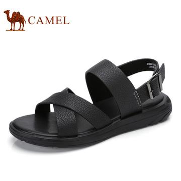 骆驼男鞋 清凉时尚男凉鞋厚底搭扣休闲男士凉鞋男牛皮软底沙滩鞋