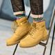 骆驼男鞋 男靴冬季男鞋牛皮短靴马丁靴保暖潮男靴鞋大黄靴男靴子