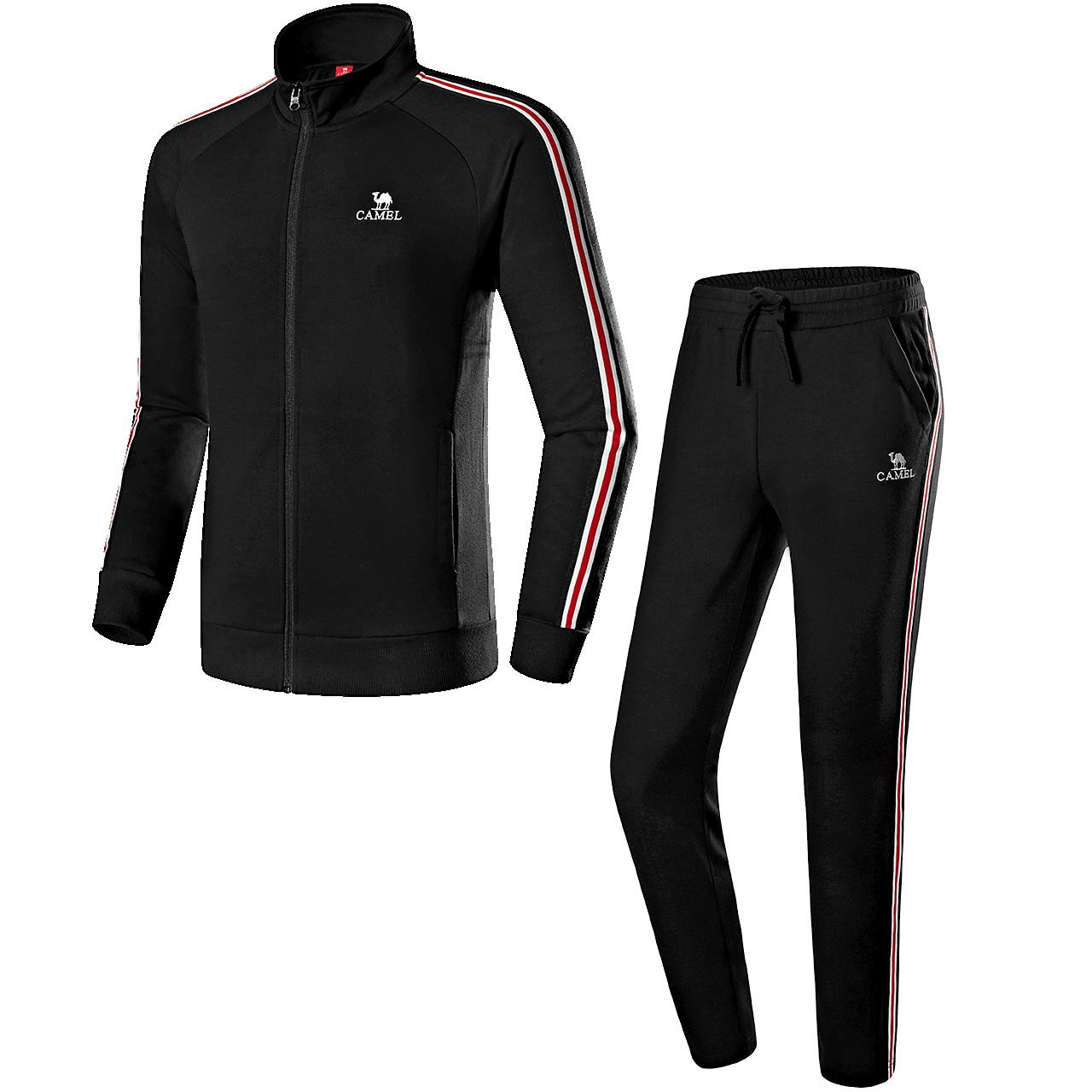 骆驼户外 运动套装跑步服秋季男士 运动服宽松休闲装健身服两件装