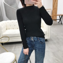 Cat Tree Fall and Winter 2019 New Single-row Button Slim Half-neck Bottom Shirt Slender Knitted Shirt