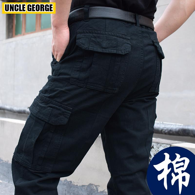男士多口袋户外工装裤厚款大码工作服纯棉裤子宽松军装休闲裤薄款
