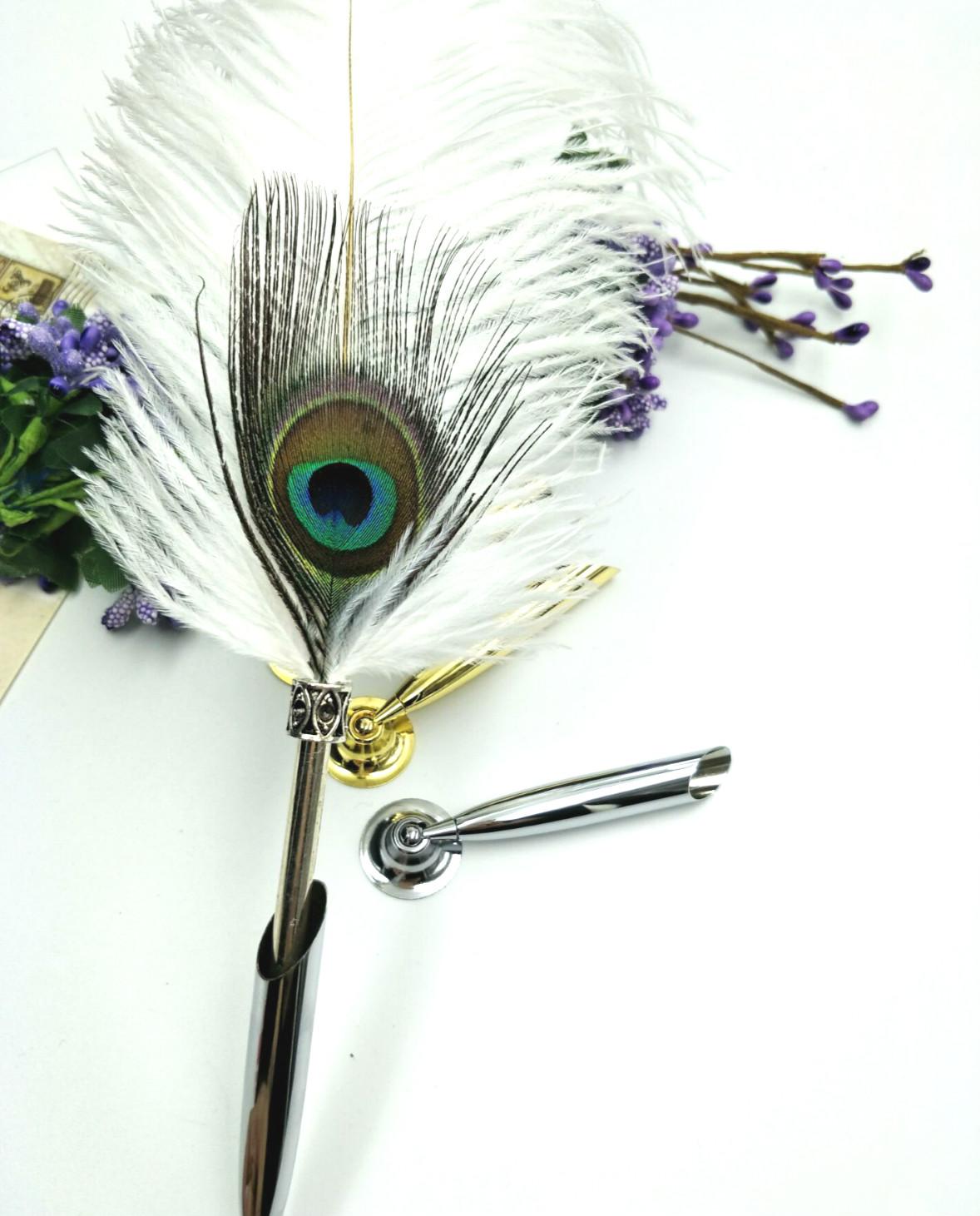 新款欧式复古羽毛笔钢笔简约创意不锈钢笔座时尚笔台固定插座包邮