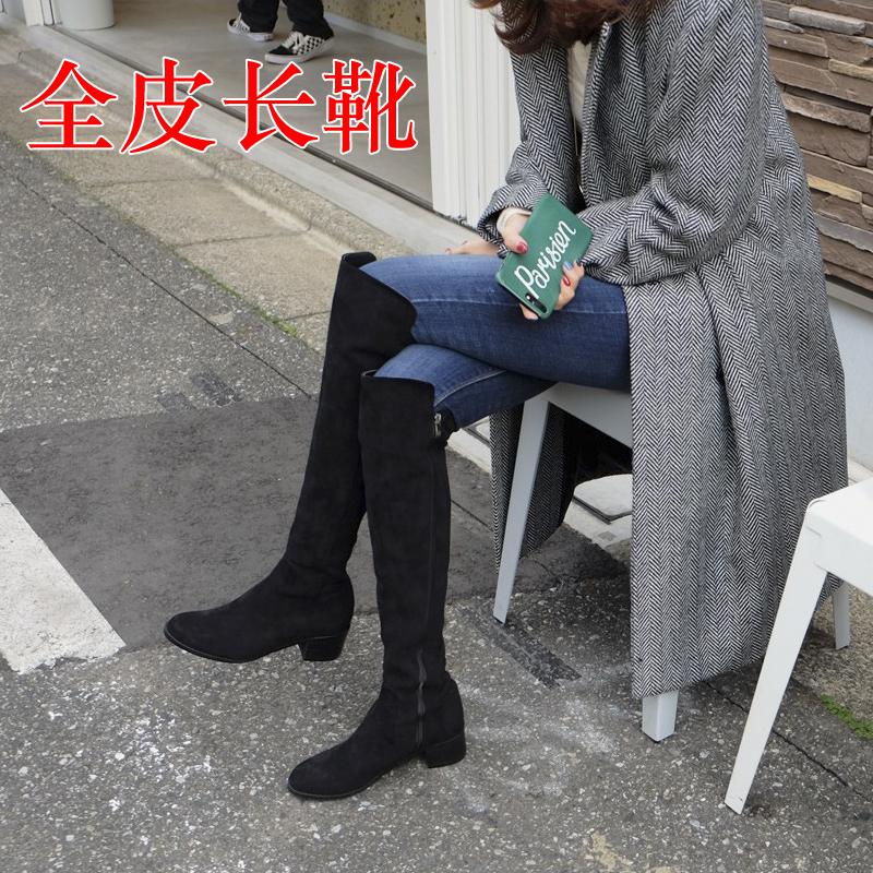 新款全皮长靴过膝靴女秋冬平底高筒靴磨砂真皮骑士靴低跟长筒靴女