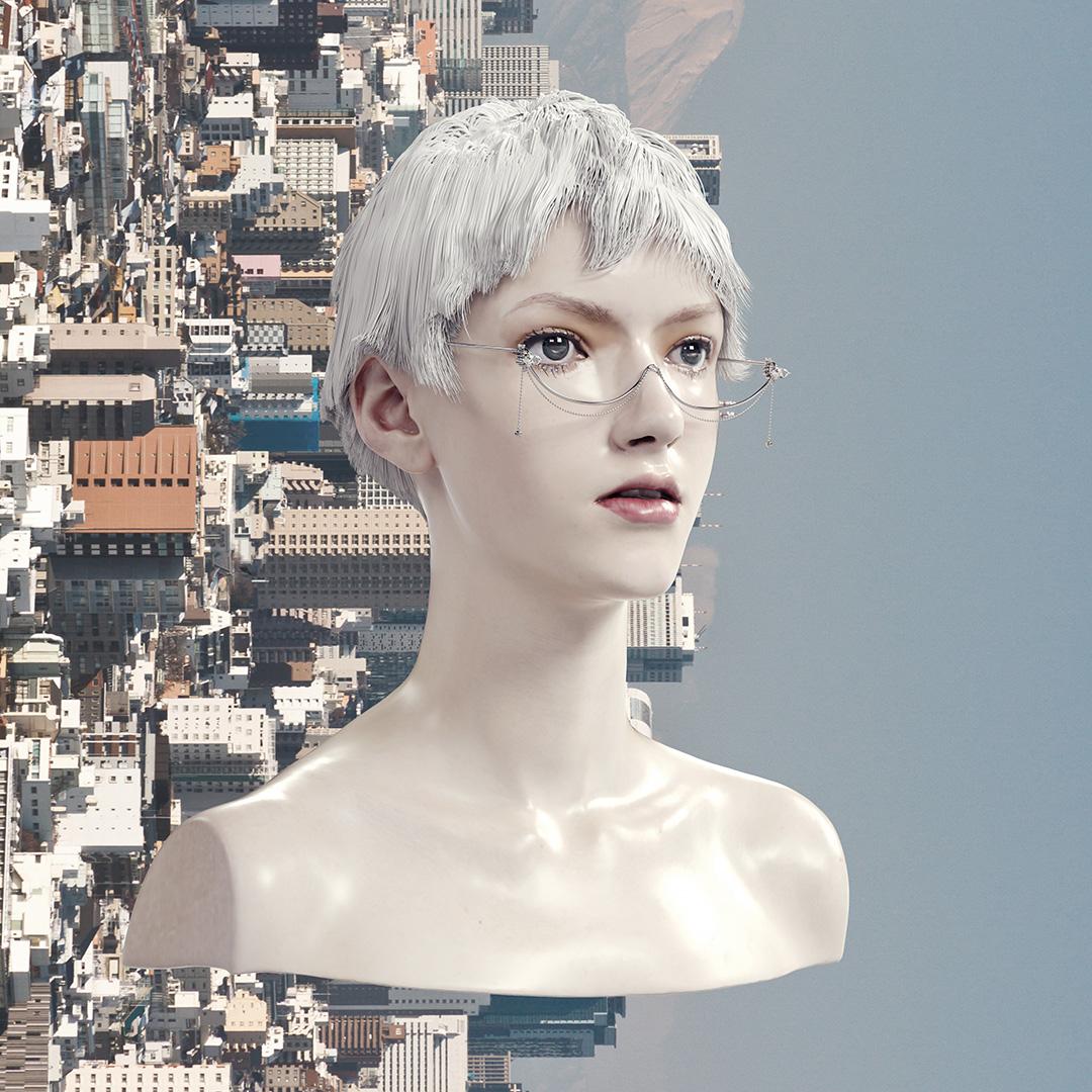 YVMIN尤目 电子女孩系列流苏珠宝眼镜 半框面部装饰个性首饰