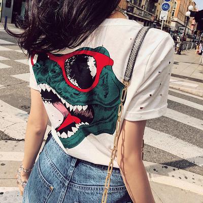 2018夏季新款白色ins超火的t恤女短袖韩范百搭宽松个性小心机上衣