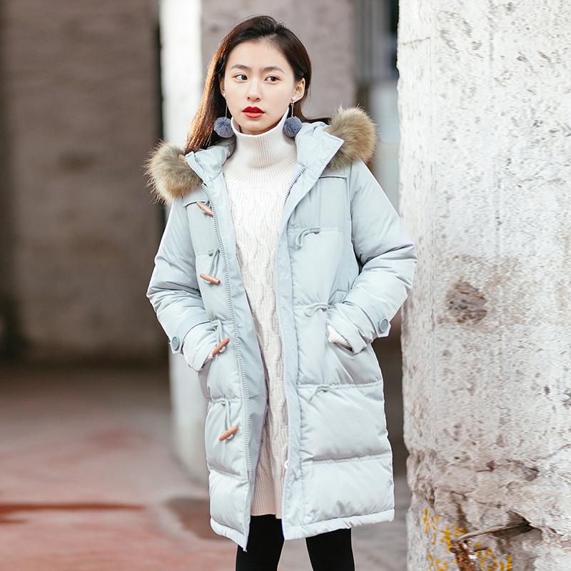 13良品2017冬季新款韩版小个子中长款大毛领黑色羽绒服女加厚外套