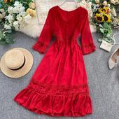 防晒雪纺飘逸长裙仙 红色连衣裙2019新款 海边度假V领蕾丝拼接长袖图片