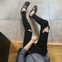 秋装2018新款破洞牛仔裤女韩版学生百搭港味复古高腰九分裤铅笔裤