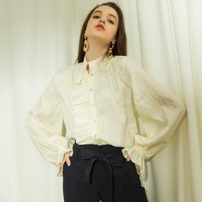 相对纶/凡尔赛 古典奶油褶皱长袖衬衫女法式复古泡泡袖上衣木耳边