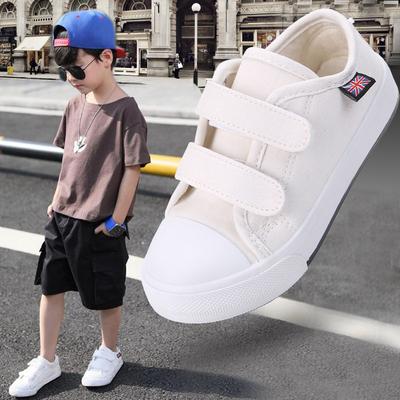 儿童帆布鞋女童小白鞋白色宝宝透气布鞋秋季板鞋男童鞋子2018新款