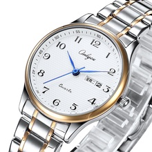 奥利妮情侣表中老年日历石英表腕表老人大数字防水钢带男女士手表图片