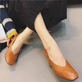 春秋2018百搭韩版浅口中跟新款鞋高跟粗跟单鞋女女鞋方头软皮奶奶