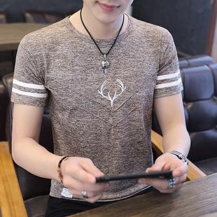 夏季男士短袖t恤打底衫韓版上衣服修身潮流半袖白丅圓領體恤男裝