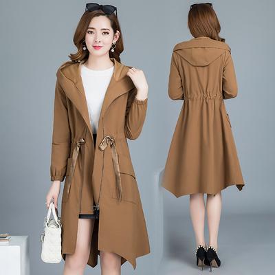 法麦莎风衣女中长款韩版春季2018新款外套大码显瘦大气秋天外套女