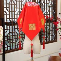 红盖头新娘结婚中式蒙头巾绣花盖头喜帕刺绣盖头古装绣花头巾新款
