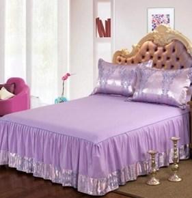 纯棉床罩床裙四件套全棉欧式贡缎提花双人被单婚庆床上五六七件套
