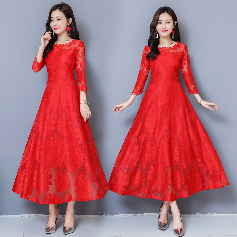 red dress skirt female large size 2018 autumn new small fragrance has a feminine