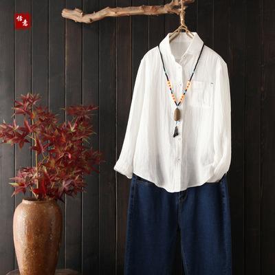 2018秋季文艺范百搭肌理短款棉麻衬衫女娃娃领白色长袖衬衣打底衫