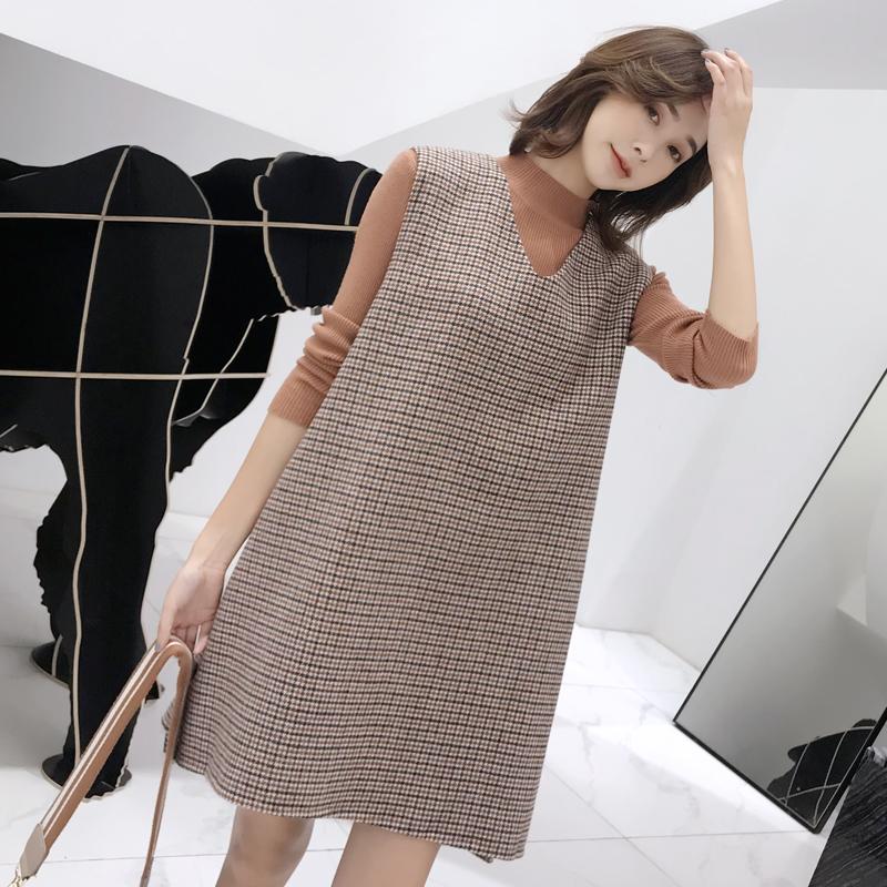 羊毛呢韩版连衣裙