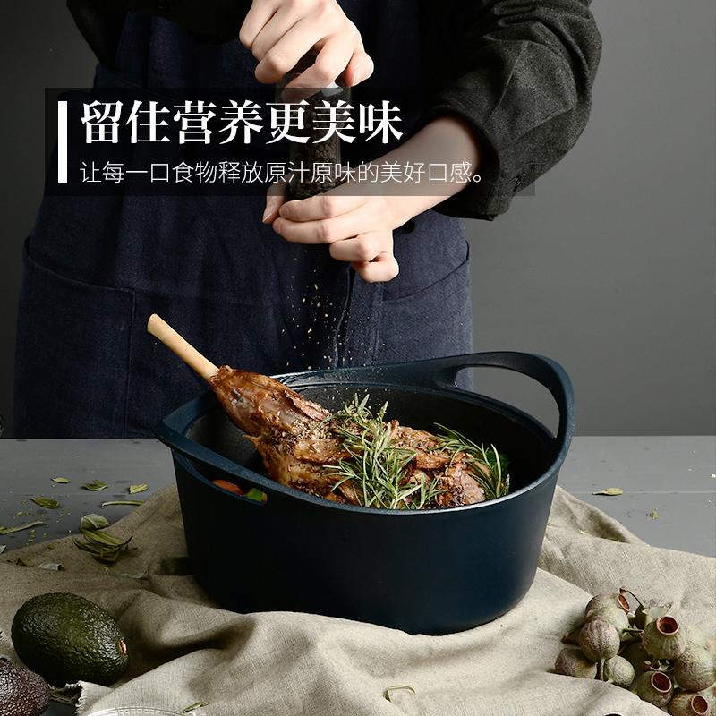 归禾器 植物油珐琅铸铁锅不粘锅炒锅煎锅无涂层炖锅汤锅锅具套装