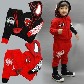 2pcs 2016 outwear kids baby boys spiderman top+pants set